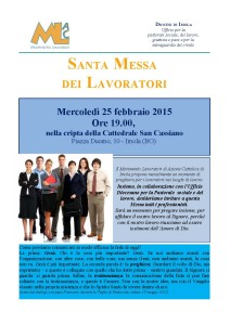 Messa liberi professionisti 25 Febbraio 2015 ore 19.00 presso San Cassiano